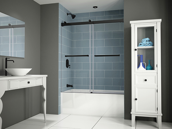 Question 6 frameless bypass matte black tub door Innovate Building Solutions #frameless #Bypassdoor #Glassdoor #glasstubdoor