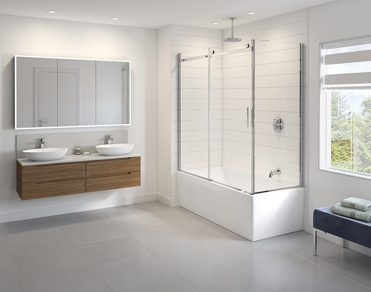 Question 8 corner glass sliding doors Innovate Building Solutions #Glassdoor #SlidingDoor #BathroomRemodel