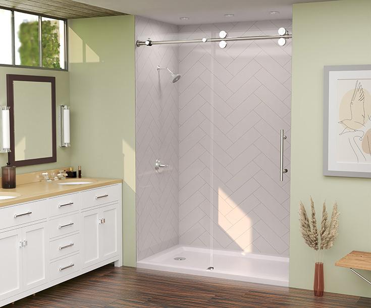Advantage 1 white herringbone laminate shower wall panels frameless glass shower door   Innovate Building Solutions #LaminateShower #ShowerDoor #HerringbonePattern