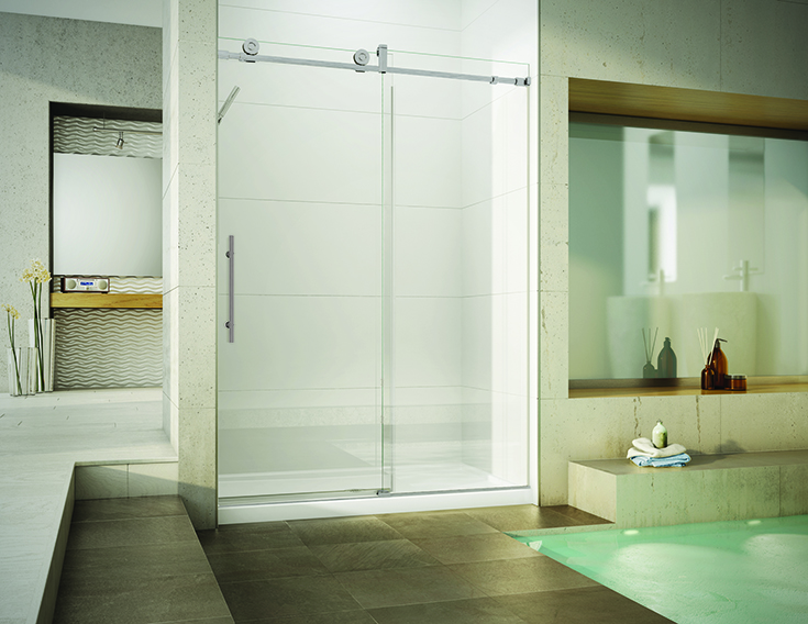 Advantage 2 thick frameless glass shower door Innovate Building Solutions   Columbus, OH #Framelessdoor #Glassdoor #Thickglassdoor #Customglass