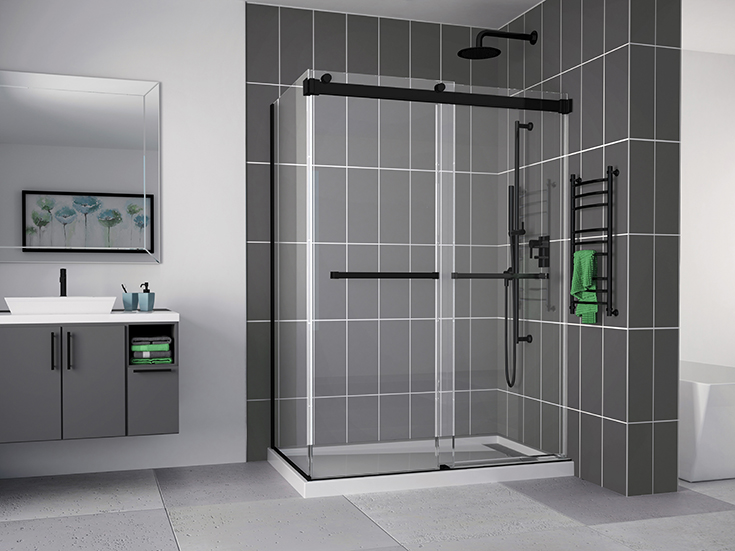 Advantage 4 sliding 2 sided glass shower door without track Innovate Building Solutions #Framelessdoor #Glassshowerdoor #ShowerDoorMatteBlack